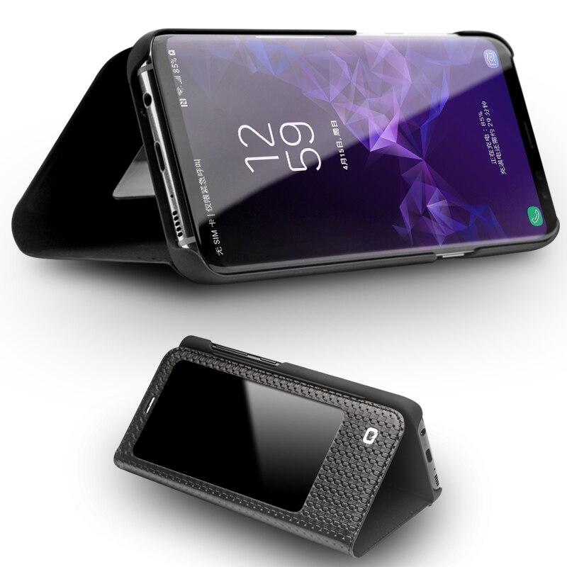 QIALINO Véritable Housse En Cuir flip pour Samsung Galaxy S9 Plus Intelligent vue Couverture de Téléphone pour Samsung S9 avec Veille Jusqu'à Fonction