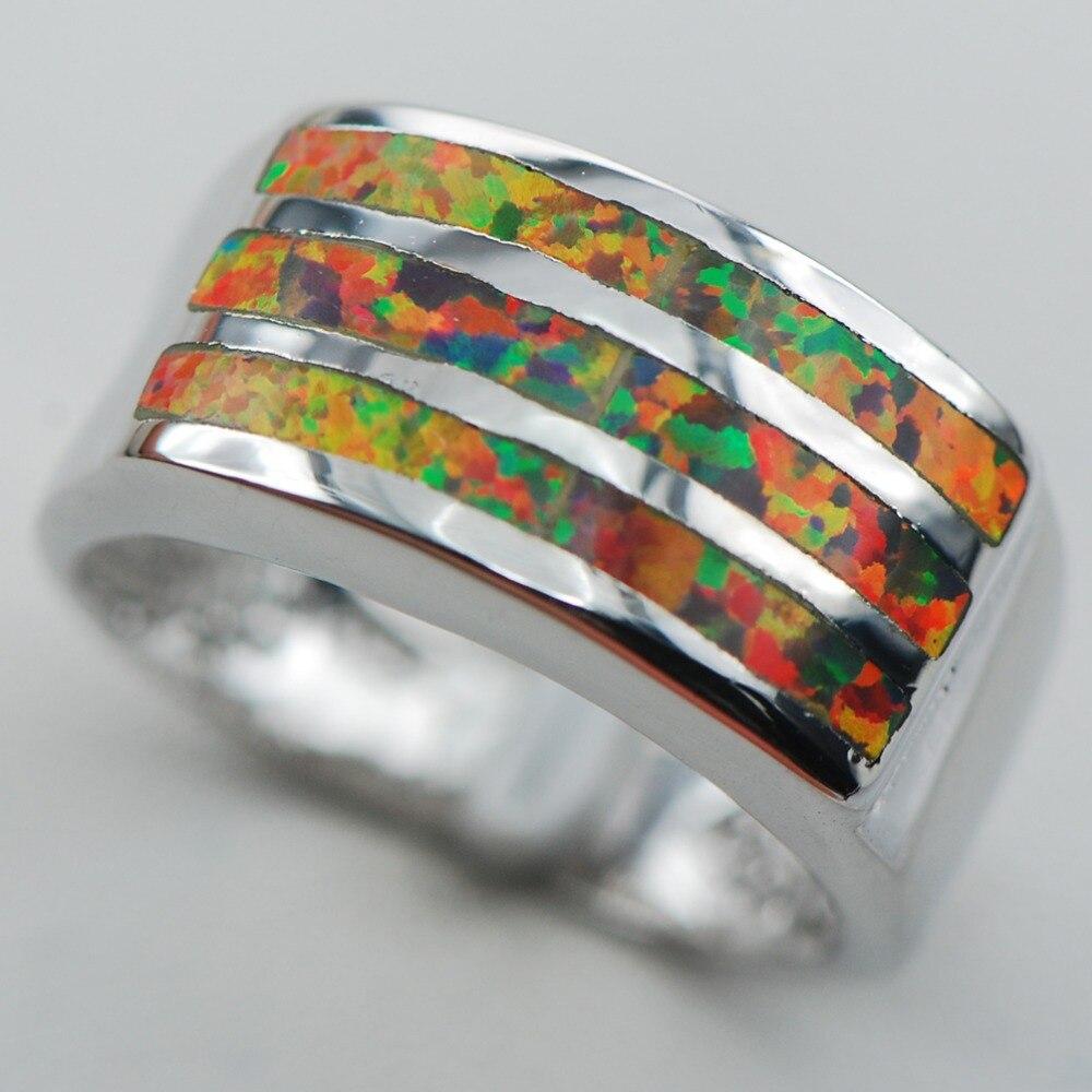 fbffa2f76072 ₪Rojo OPAL 925 anillo tamaño 6 7 8 9 10 R1305 - a386