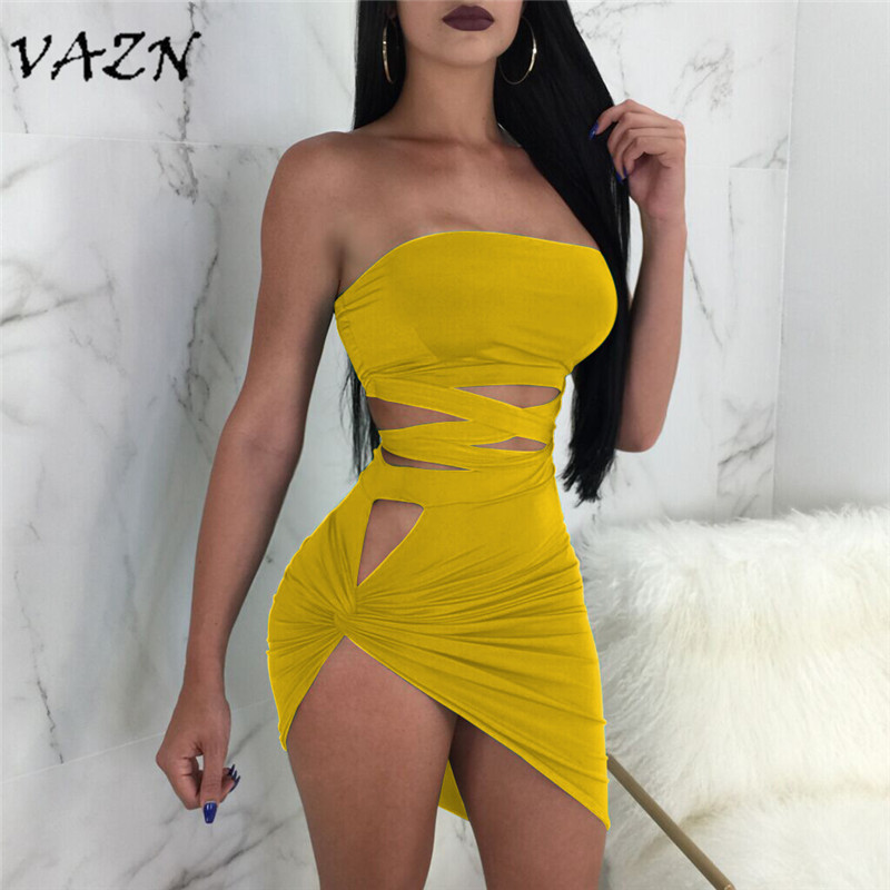 Detail Feedback Questions about VAZN Top Quality New Design 2018 Style  Night Club Sexy Women Dresses Strapless Hollow Out Novelty Asymmetrical Mini  Dress ... b82970eaa