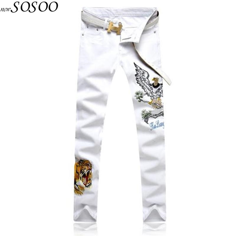 Spring New Young Man Korean Style Embroidery Of Tiger Fashion Slim Jeans Pants Men White Jeans Men #104