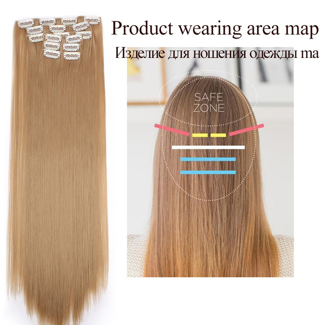 Long Blonde hair Synthetic Clips in Hair Extensions Straight 22 3