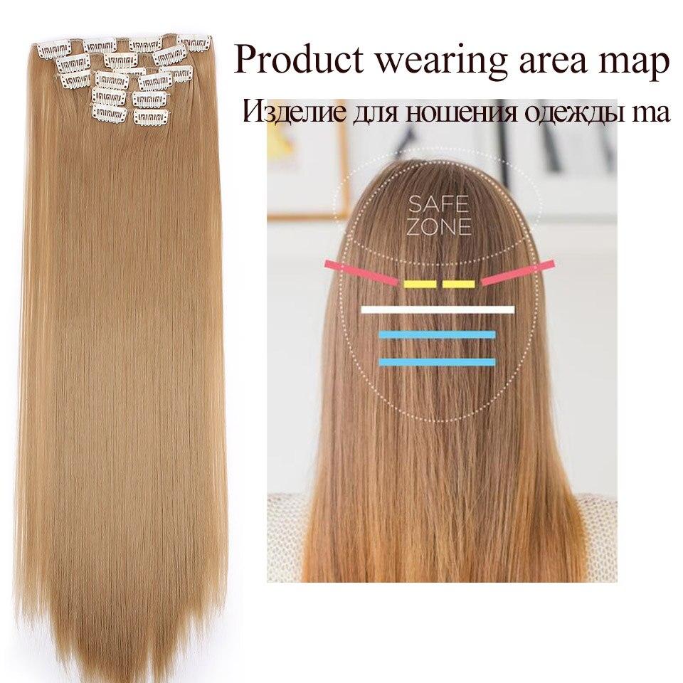 Långt blont hår Syntetiska klämmor i hårförlängningar Rak 22 - Syntetiskt hår - Foto 3
