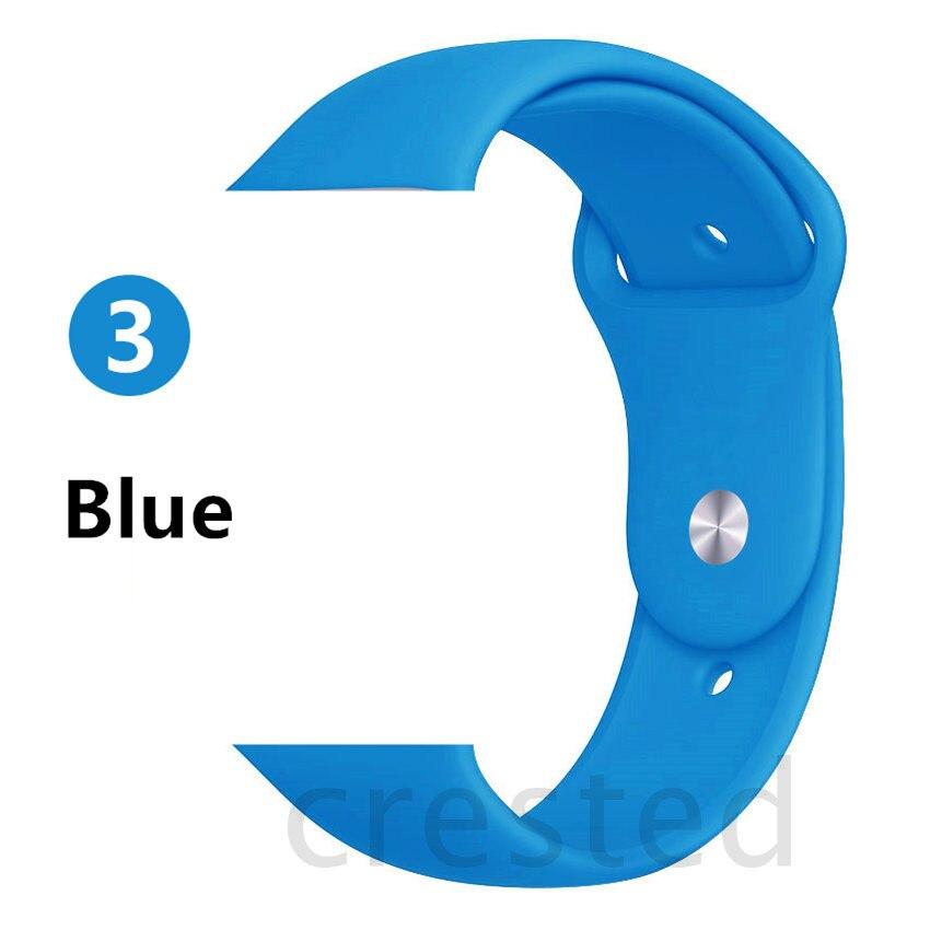 Силиконовый ремешок для apple watch 4 5 44 мм/40 мм спортивный ремешки для apple watch 3 42 мм/38 мм резиновый ремень браслет ремешок для часов apple watch Band Мягкий красочный ремешок iwatch series 4 3 2 1 - Цвет ремешка: Blue
