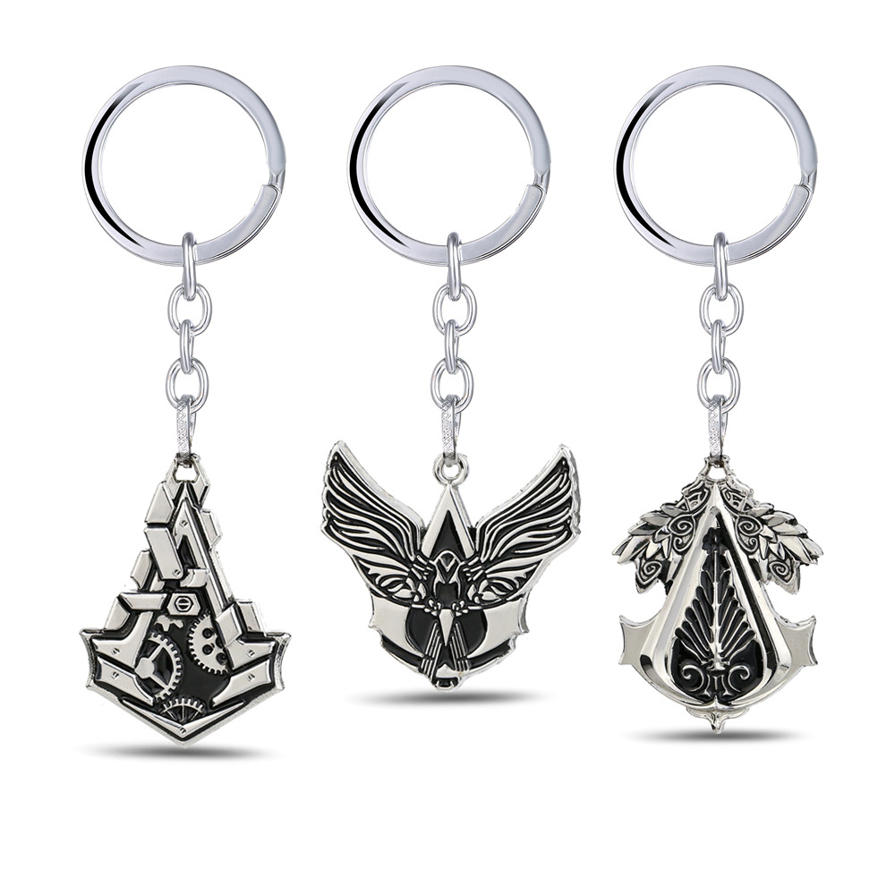 Game Series Assassins Creed Hero logo Necklace Hidden Blade Gear Key Chains Keyring Metal Pendant Model Toy For Boys Gift