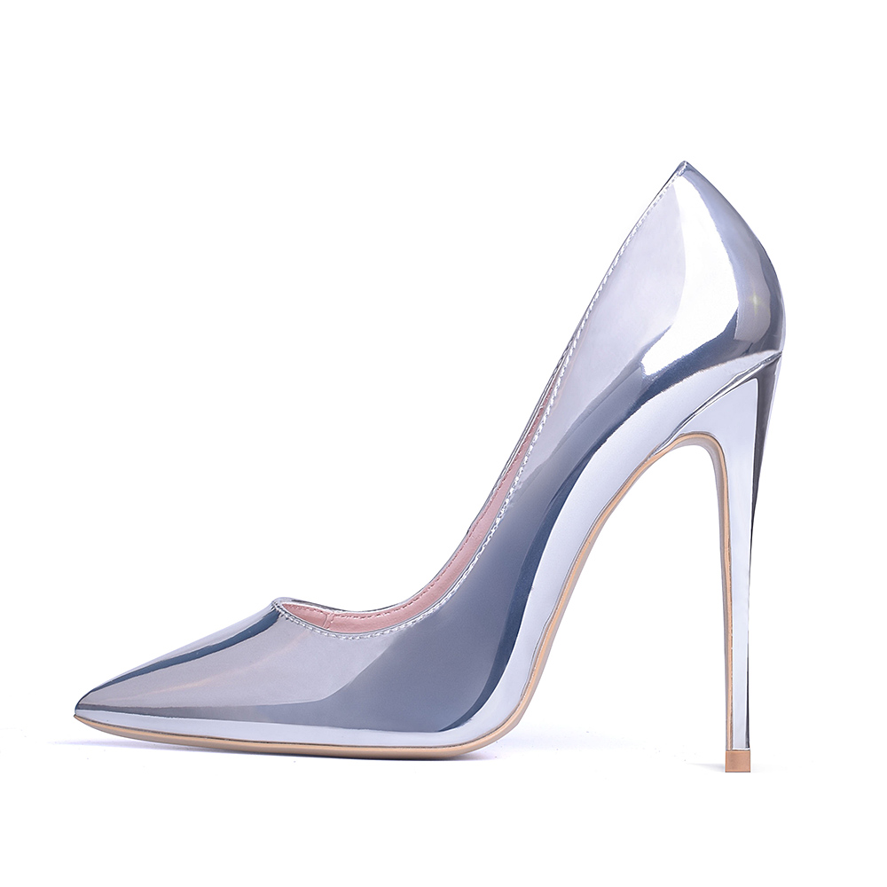 GENSHUO Women Pumps High Heels Silver Sexy High Heels Shoes for Women Stilettos Fashion Luxury Wedding Party Shoes Big Size 8