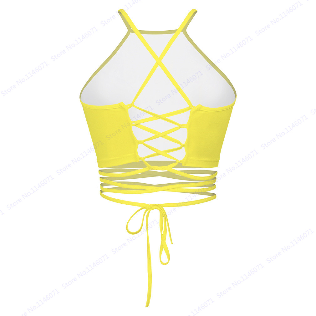 f8deafd5563 Everybody Must Get Stoned Letter Print Crop Boob Tube Top Yellow Strappy  Bandage Swimming Tops Sexy Back Cross Beach Women-in Two-Piece Separates  from ...