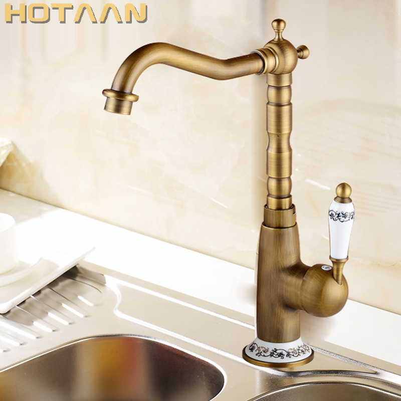 Free Shipping Kitchen Faucet Antique Brass Swivel Bathroom Basin Sink Mixer Tap Crane,torneira YT-6043