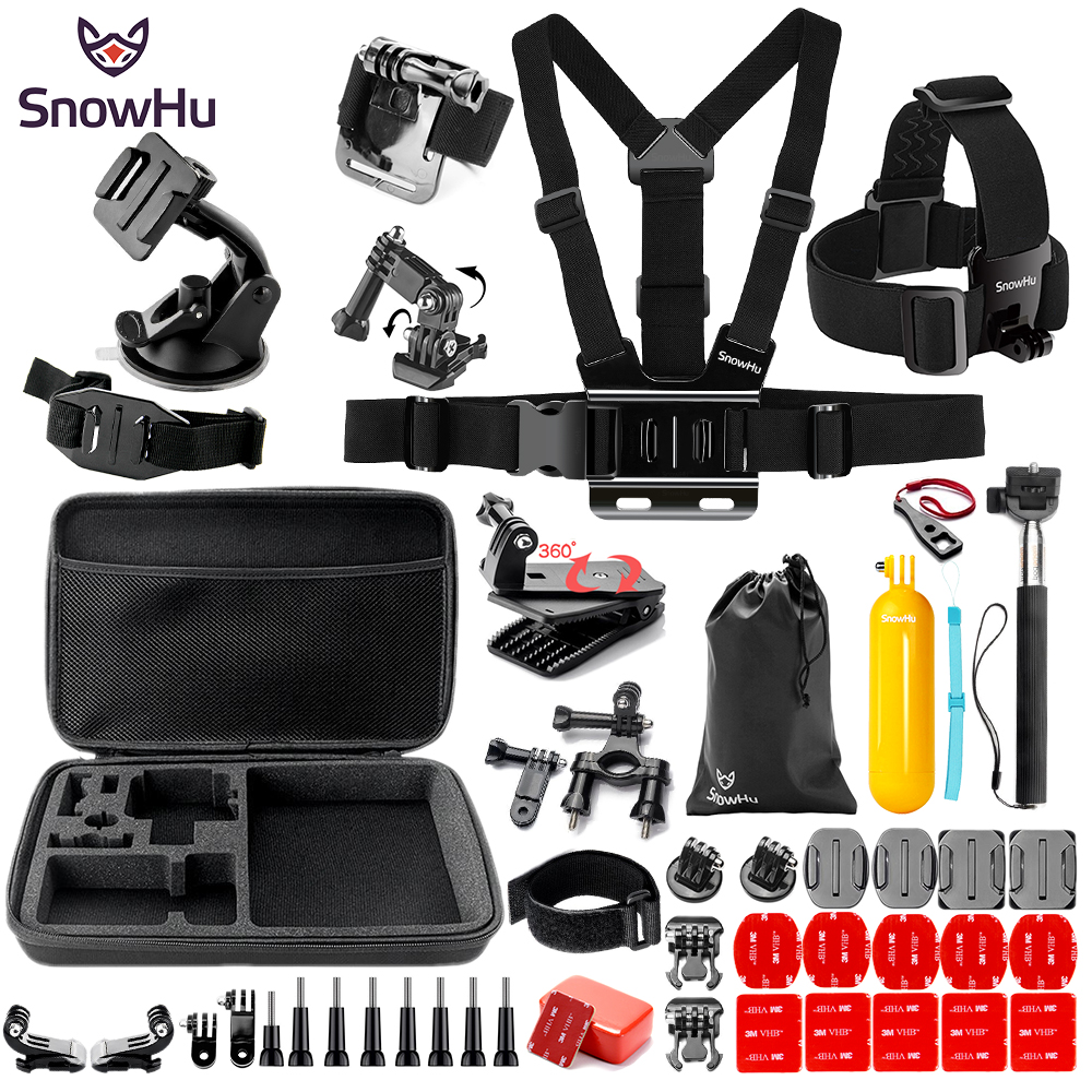 цена SnowHu For Gopro Hero Y91 Accessories Large bag Helmet band Survival tube Trochal disk For Go pro hero 6 5 4 EKEN H9 xiaomi yi