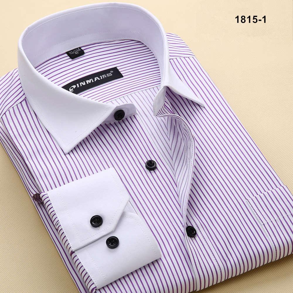 Брендовые мужские рубашки в полоску с отложным воротником, Повседневная Деловая официальная рубашка, Высококачественная Мужская рубашка с длинным рукавом - Цвет: 18151