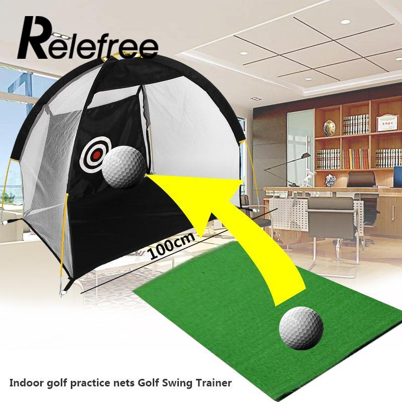 Relefree Sports Portable 1M Golf Training Cages Practice Net Training Aid without Free Mat 30x300cm wood indoor golf putting trainer professional practice set training mat mini golf putter green with fairway free ball