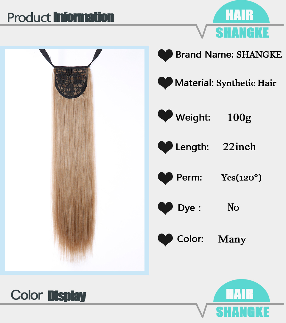 Straight Ponytails Extensions 22'' 3