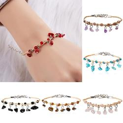 Rinhoo Trendy Female Natural Stone Charm Bracelet Colorful Natural Gravel Woven Rope Bracelet for Girls Friendship Jewelry Gifts