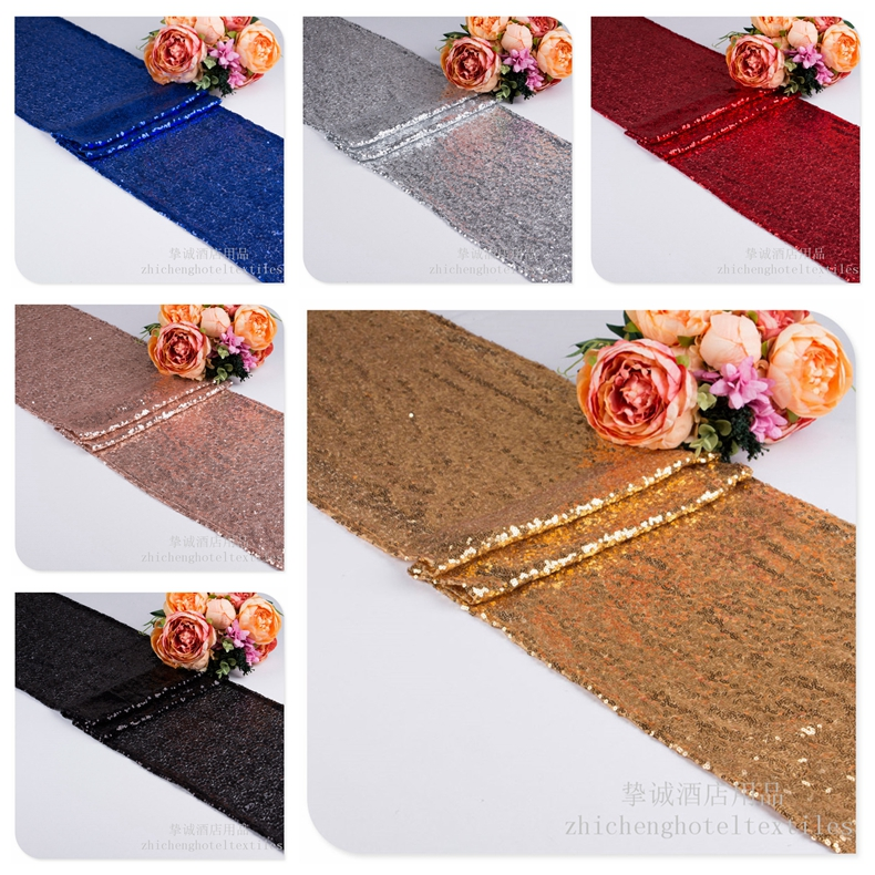 Sequin Table Runner Shiny Gold Silver Colour Luxury Style Wholesale Embroider Sequin Table Runner For Wedding Hotel Dinner Party