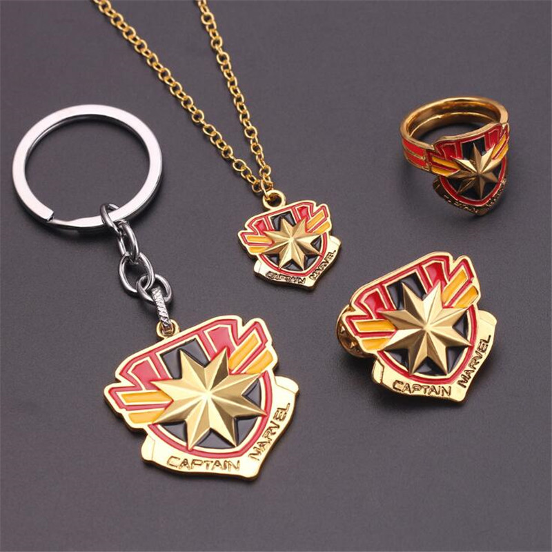 Hot Movie Captain Marvel Necklace Badge Brooch Key Chain Cufflink Ring Cosplay Accessories Alloy Fancy Gift