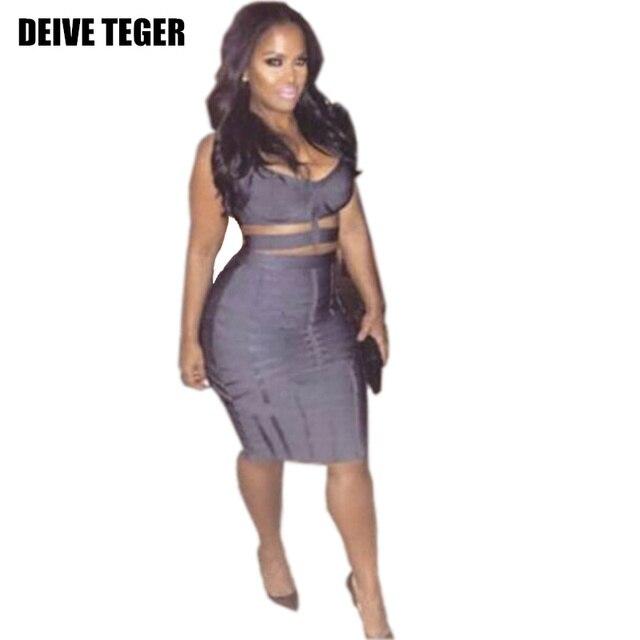DEIVE TEGER Free Shipping 2016 New Fashion Charcoal Grey Banded Bandage Two  Piece Set Bandage Dress 2d35ea6d6453