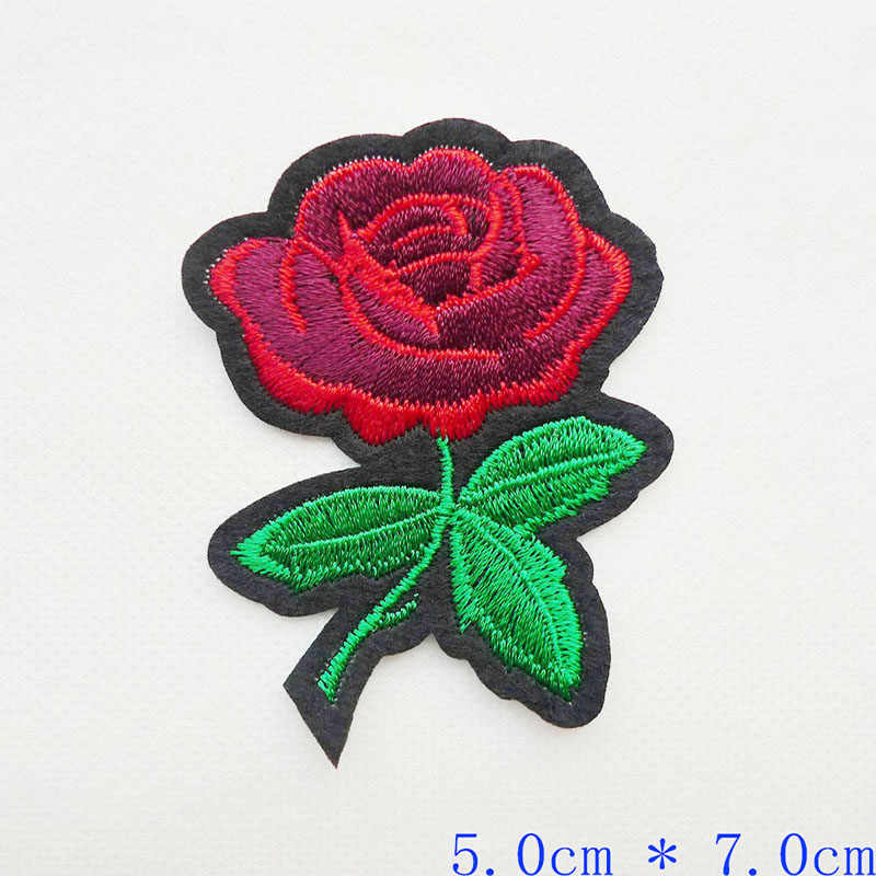 High quality rose flower Iron on patches embroidery applique for clothing garment sewing Stripes DIY Stickers badge accessories