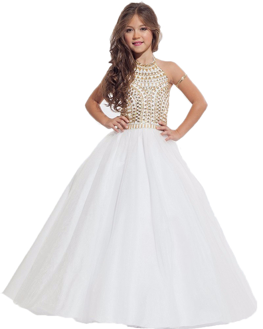 2017 de Calidad Superior Vestidos de Niña para Bodas Halter Vestidos ...