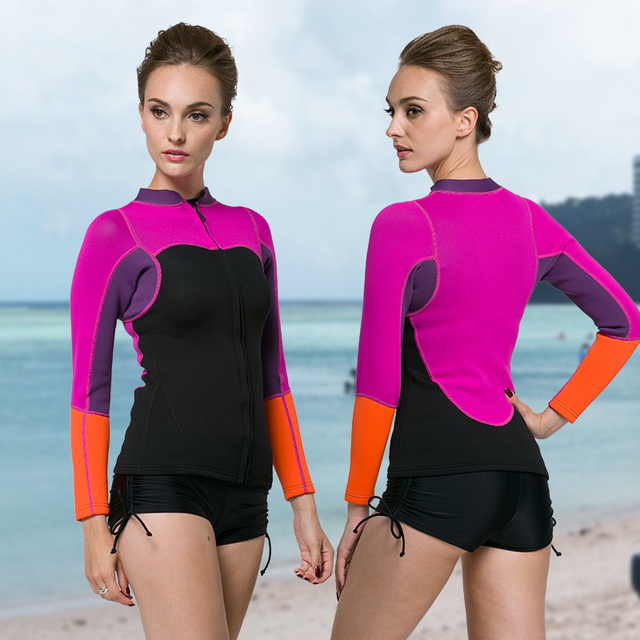 ad20b54c9c99 XXL Winter 2mm Neoprene Thermal Diving Clothing Female Submersible Top  Wetsuit Purple Color Maldives Beachwear Free Shipping