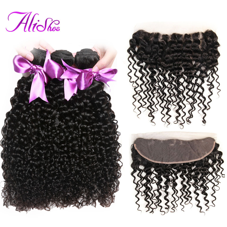 Alishes Malaysian Curly Hair 3 Bundles With Lace Frontal Closure Ear To Ear Free Part Lace Closure 4PCS/LOT Non Remy Human Hair