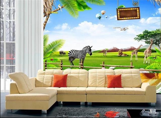 custom photo HD 3D wallpaper non woven room mural/zoo zebra ...