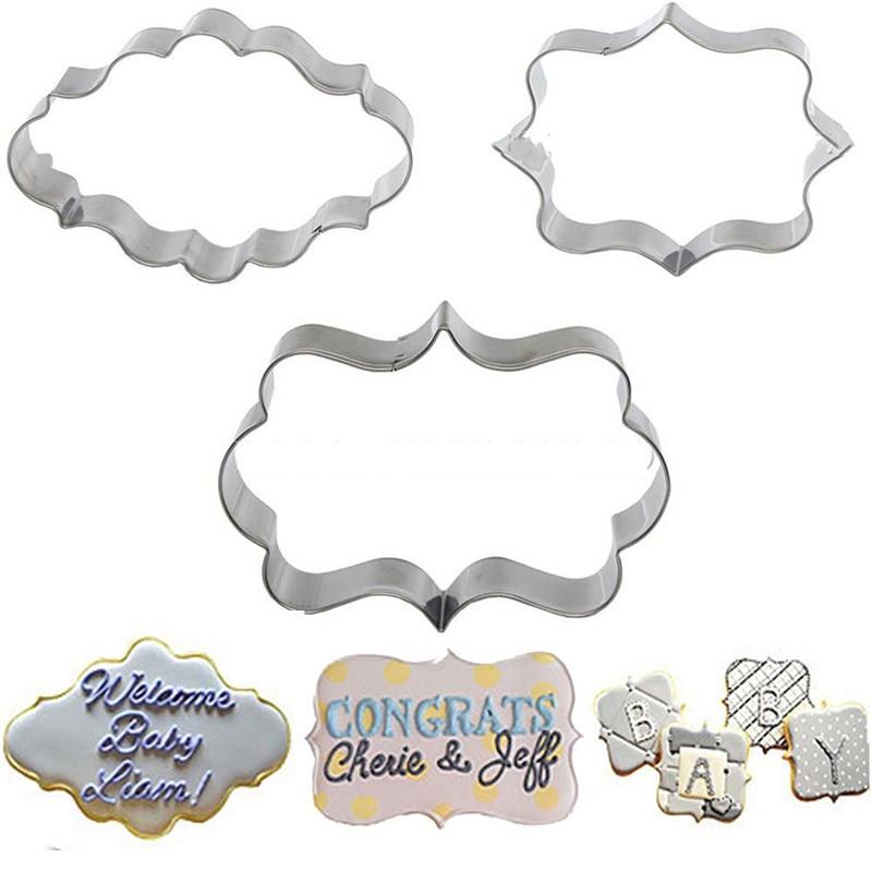 1 набор (3 шт.) форма для печенья, кондитерских изделий, помадки, форма для торта из нержавеющей стали, декоративная рамка для сахарной мастики...