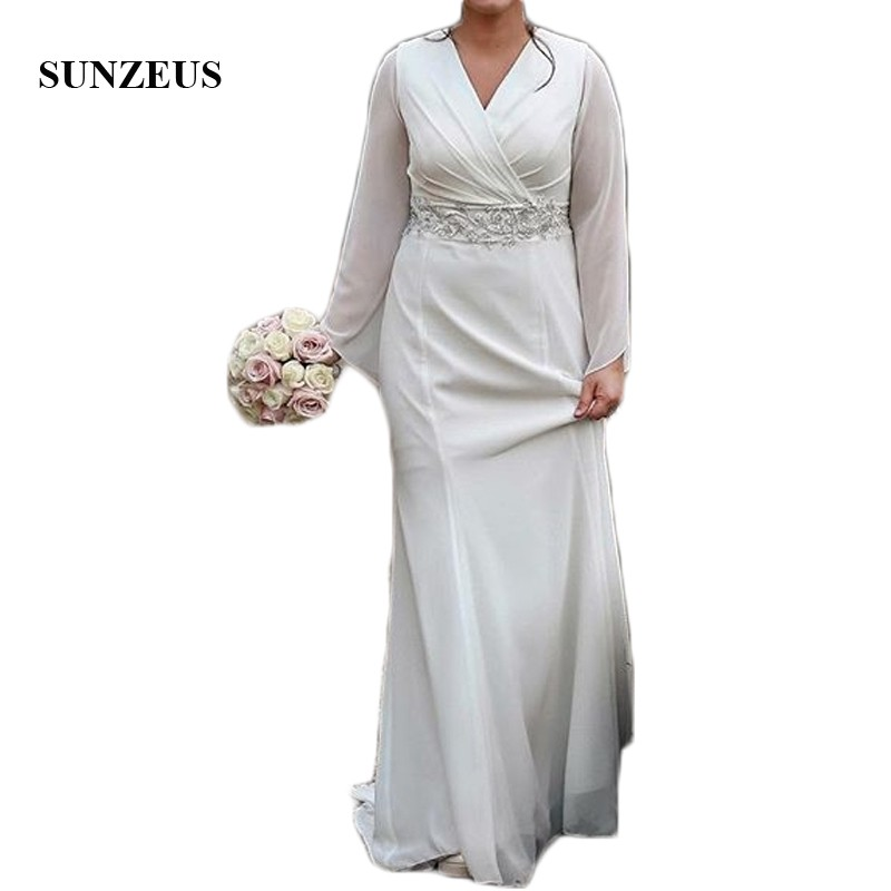 V Neck Beaded Wedding Gowns: V Neck Chiffon Wedding Dresses 2019 Flare Long Sleeve