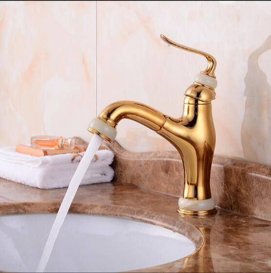 New arrival high quality gold finished Copper and natural jade material bathroom sink faucet with pull out shower head new bullet head bobbin holder with ceramic tube tip protecting lines brass copper material