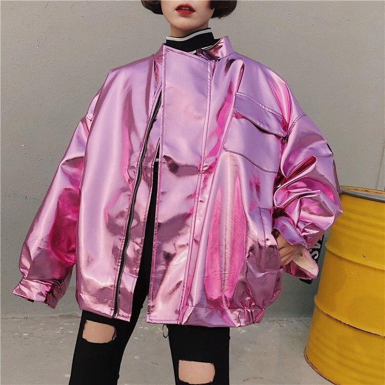 2018 אביב נשים מתכת מפציץ מעיל רופף ורוד כסף היפ הופ פאנק מעיל מזדמן להאריך ימים יותר Chaqueta Mujer
