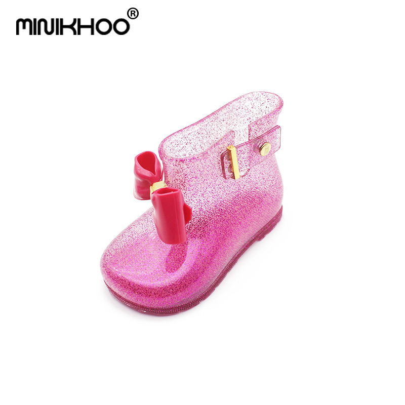 Mini Melissa 2018 New Butterfly Rain Boots Girls Flash Powder Jelly Non-slip Mini Melissa Water Boots Candy Color Princess Shoes