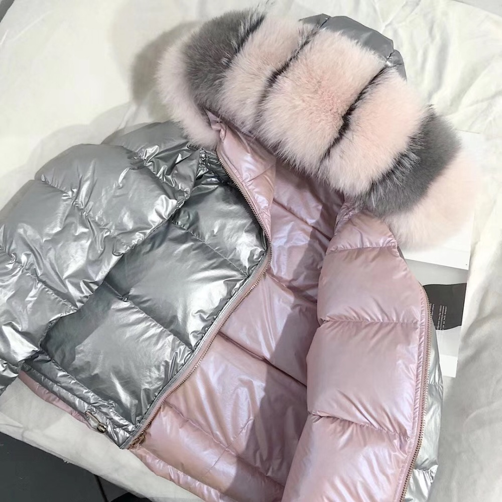 FTLZZ Women Double Sided Silver Golden Duck Down Coat Winter Large Real Fur Collar Waterproof Jacket Hooded Snow Outerwear