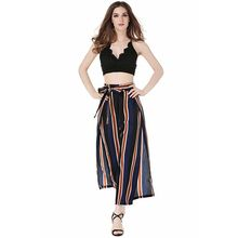 Summer new fashion open wide leg pants casual personality striped female trousers holiday loose