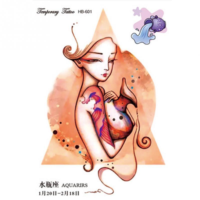 Verseau Nouveaux Modeles 12 Zodiaque Temporaire Body Art Flash
