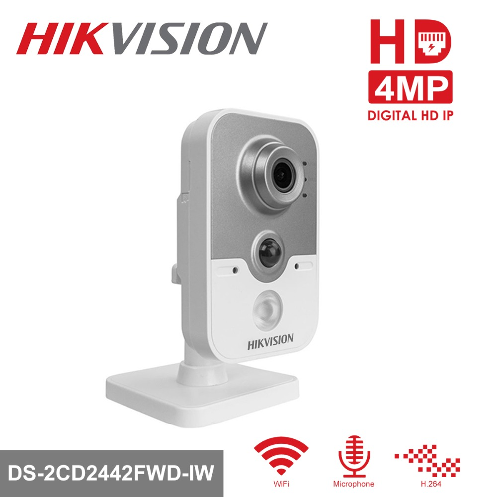 Hikvision Wireless IP Camera 1080P DS-2CD2442FWD-IW 4MP Indoor IR Cube WiFi Home Security Camera Remote View Support hikvision wireless home security camera system 720p mini wifi pt ip camera ds 2cv2q01fd iw 8ch wireless nvr ds 7108ni e1 v w 6mp