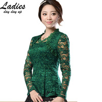 M 4XL New Fashion 2015 Spring Noble Women Hollow Lace Blouse Shirt Long Sleeve Lace Shirt