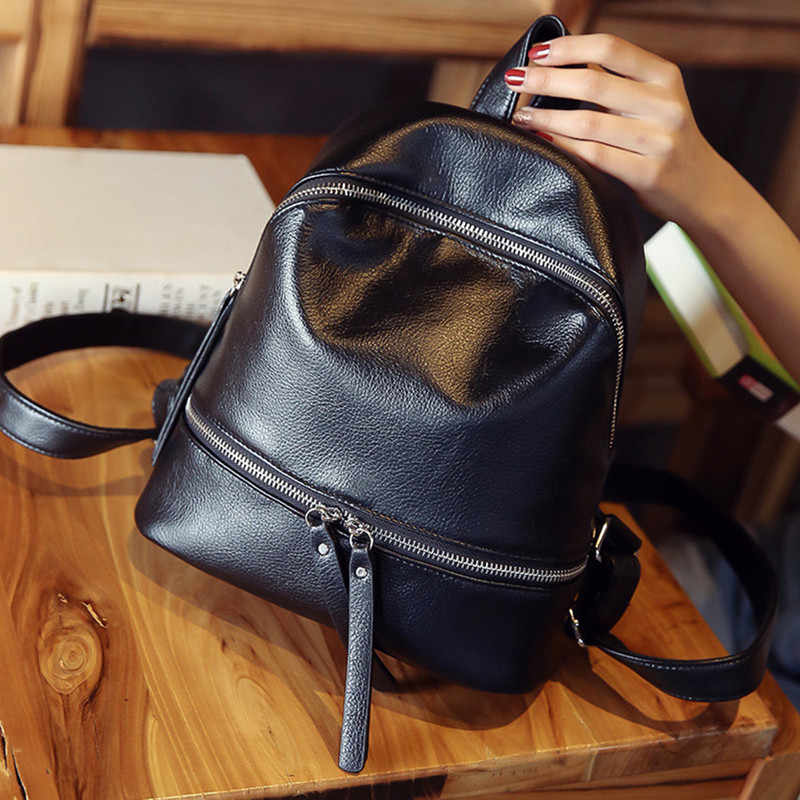 28a4295cf596 ... Vintage Women Backpack Designer PU Leather Female Travel Backpacks  small Preppy style School Bag for girls ...