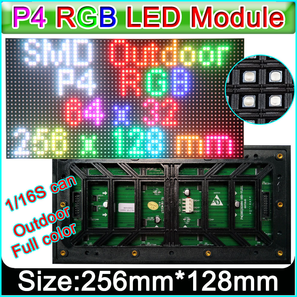 2019 NEW P4 Outdoor RGB Led Display Module 1/16Scan, SMD 1921 Lamp Advertising Sign Board Screen,DIY HD Full Color Video Wall