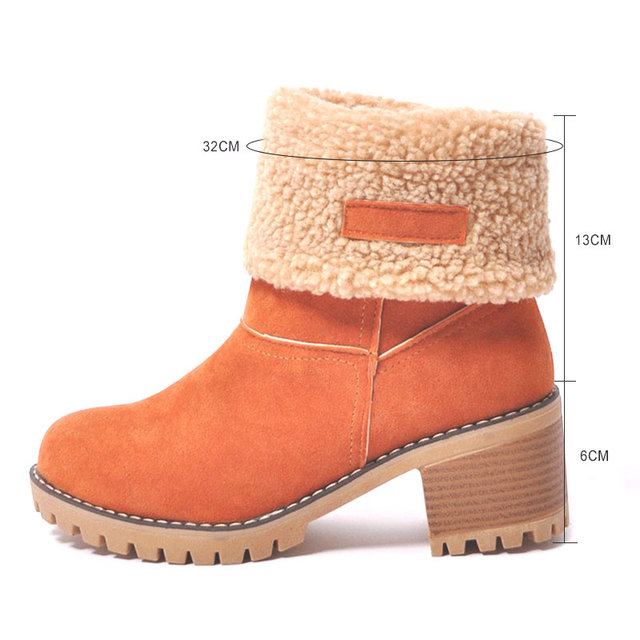 Fanyuan New Women Boots Winter outdoor keep Warm Fur Boots Waterproof Women's Snow Boots Thick heel  with round head short boot
