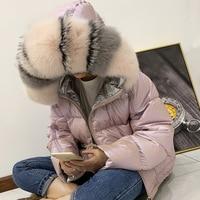 Winter Jacket Women Glossy Down Parka Real Raccoon Fur Collar Women Jacket Winter Hooded Parkas Warm Thick Parka Female Coat