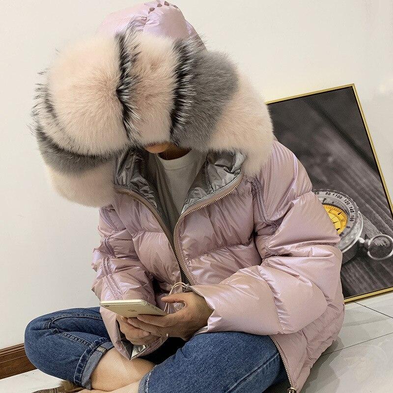 Veste d'hiver Femmes 2019 Réel Fourrure De Raton Laveur Collier Femmes Vers Le Bas Veste D'hiver À Capuchon De Fourrure De Lapin Parkas Chaud Épais Argent Femelle manteau