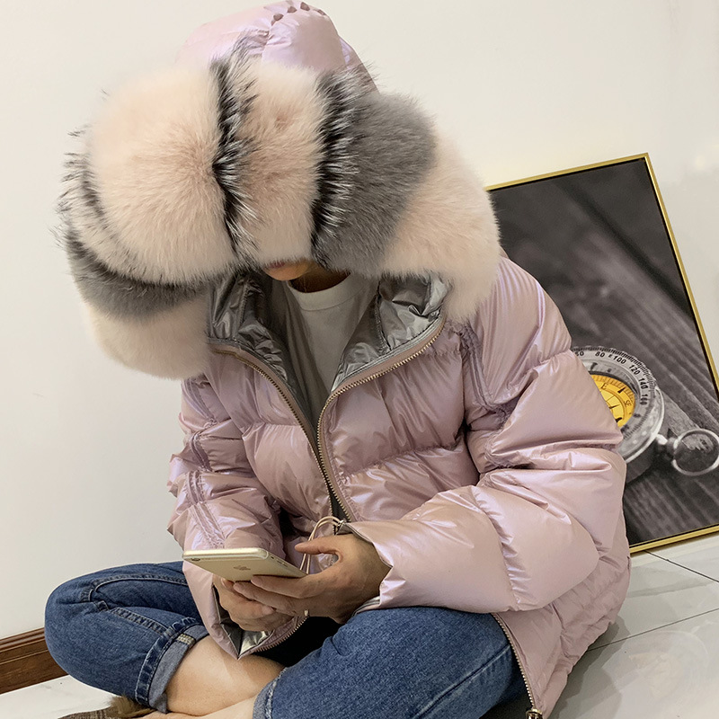 Winter Jacket Women Glossy Down   Parka   Real Raccoon Fur Collar Women Jacket Winter Hooded   Parkas   Warm Thick   Parka   Female Coat