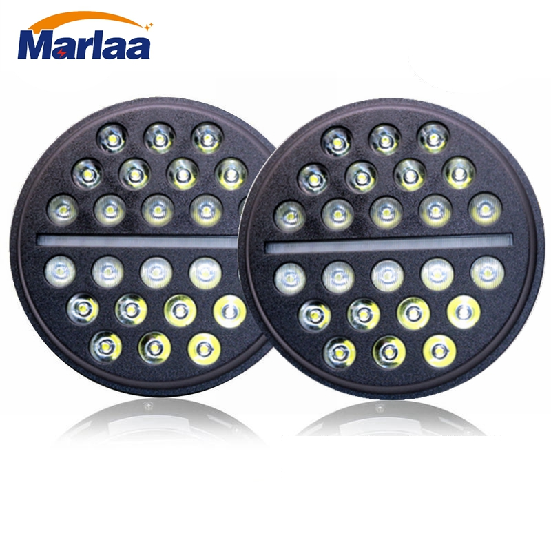 Marlaa For Land Rover Defender 90 & 110 7Inch Led Headlight High Low Beam DRL 7 Led Headlamp For UAZ Hunter Suzuki Samurai Lada