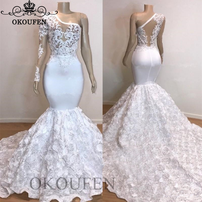 One Long Sleeves Mermaid   Prom     Dresses   2019 White Sheer Lace Appliques Rose Flowers Chapel Train Evening   Dress   Party For Women