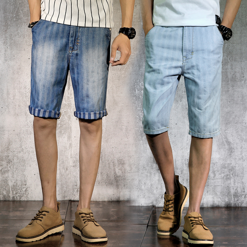 Cotton pants new summer fashion casual soft comfortable mens short jeans straight retro mens Bermuda 98% cotton summer jeans X