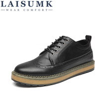 2019 LAISUMK Brand Men Shoes Lace-up Casual Big Size Business Leisure