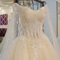 Xj16020 1M Train Real Sample Wedding Dresses Ball Gown Bown Sweetheart Long Tailing Lace Wedding Dress