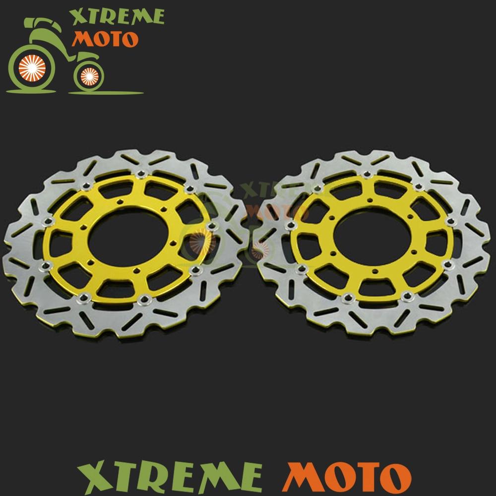 2шт золото мотоцикл передняя плавающей Тормозной диск ротора для GSXR GSXR600 GSXR750 GSXR1000 2009-2014 2008-2014 10 11 12 13 14