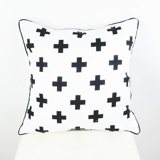 45*45 cm Negro Blanco Suizo cruz decorativa funda de cojín funda de almohada para cama sofá almofadas decorativas