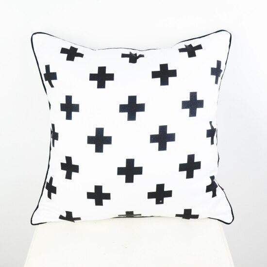 45*45 cm Noir Blanc Suisse Croix Décoratif Throw Coussin Taie d'oreiller Couverture pour Literie Canapé almofadas decorativas