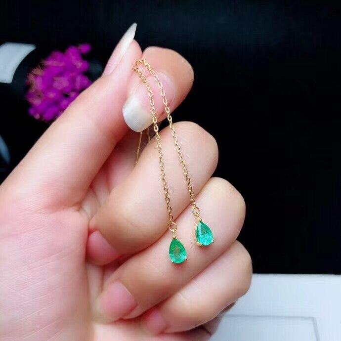 100% Wahr Natürliche Grüne Smaragd Gem Drop Ohrringe 925 Silber Natürliche Edelstein Ohr Linie Frauen Einfache Wasser Tropfen Für Party Geschenk Feine Halten Sie Die Ganze Zeit Fit