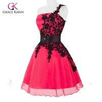 Cheap Grace Karin White Black Lace Short Homecoming Dress Plus Size One Shoulder Short Prom Dress
